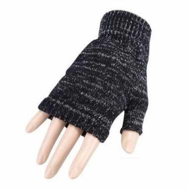 Verkleed grijze handschoenen vingerloos volwassenen carnavalskleding
