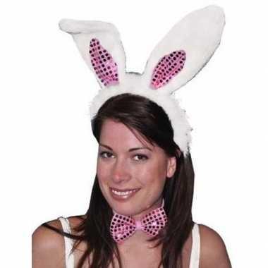 Verkleed haas/konijn setje oren strik wit/roze carnavalskleding valke