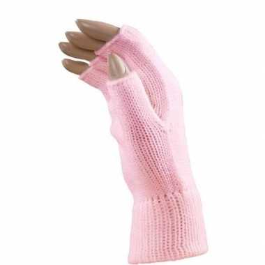 Verkleed lichtroze handschoenen vingerloos volwassenen carnavalskledi
