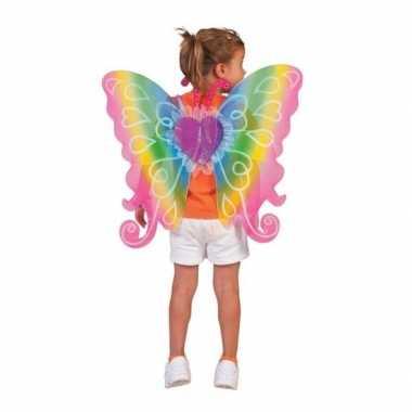 Verkleed vlinder vleugels kinderen regenboog carnavalskleding valkens