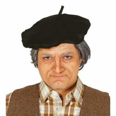 Verkleed zwarte franse baret volwassenen carnavalskleding valkenswaar
