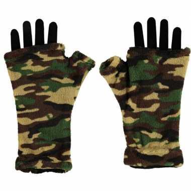 Vingerloze handschoenen camouflage print volwassenen carnavalskleding