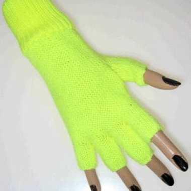 Vingerloze handschoenen neon geel carnavalskleding Valkenswaard