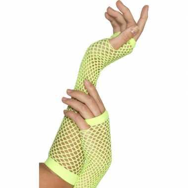 Visnet handschoenen neon groen carnavalskleding Valkenswaard