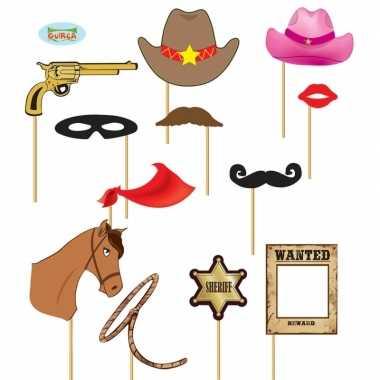 Vrijgezellenfeest foto prop setje cowboy carnavalskleding valkenswaar