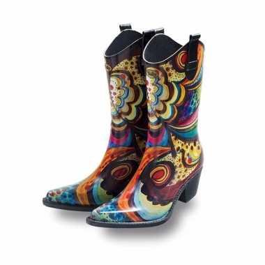 Vrolijke rubberen cowboy laarzen Floral carnavalskleding Valkenswaard