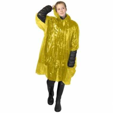 Wegwerp regen poncho geel