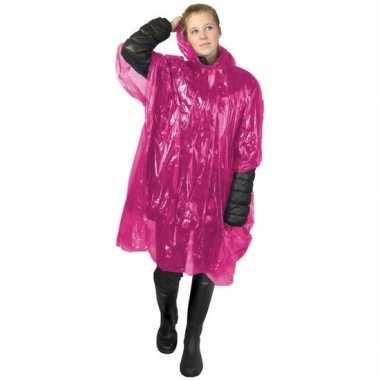 Wegwerp regen poncho roze