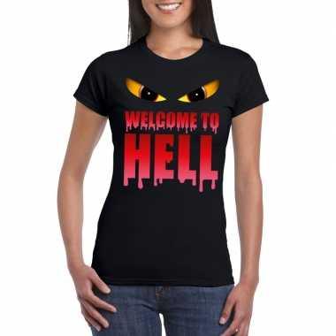 Welcome to hell halloween duivel t shirt zwart dames carnavalskleding
