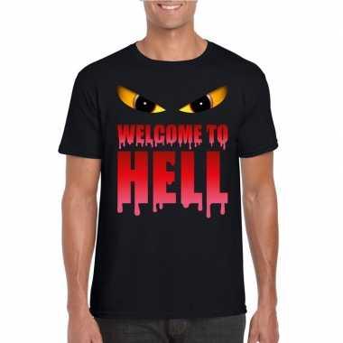 Welcome to hell halloween duivel t shirt zwart heren carnavalskleding