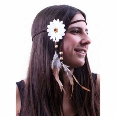 Wit hoofdbandje bloem veren carnavalskleding Valkenswaard