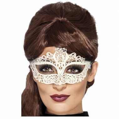 Wit kanten oogmasker dames carnavalskleding valkenswaard