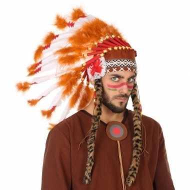 Wit/oranje luxe indianen tooi heren carnavalskleding valkenswaard