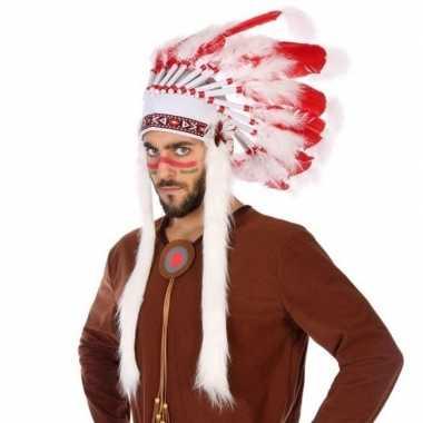 Wit/rode luxe indianen tooi heren carnavalskleding valkenswaard