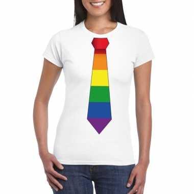 Wit t shirt regenboog vlag stropdas dames carnavalskleding valkenswaa