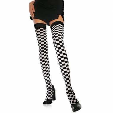 Wit zwarte geblokte kniekousen dames carnavalskleding valkenswaard