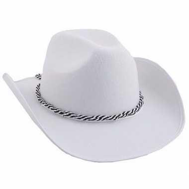 Witte cowboyhoeden koord carnavalskleding valkenswaard