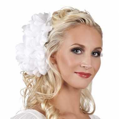 Witte flamenco haarbloem carnavalskleding valkenswaard