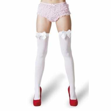 Witte kousen witte strikjes dames carnavalskleding valkenswaard