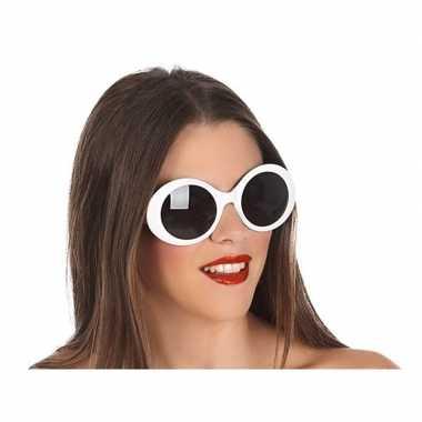 Witte ronde verkleed zonnebril carnavalskleding valkenswaard