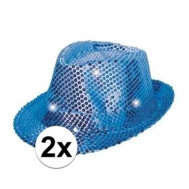 X blauwe hoeden volwassenen licht carnavalskleding valkenswaard