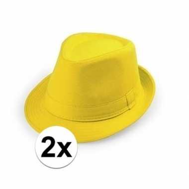 X carnaval maffia hoedje geel volwassenen carnavalskleding valkenswaa