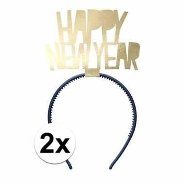 X happy new year diademen dames oud nieuw/nieuwjaar carnavalskleding