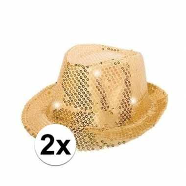 X pailletten hoedjes goud led licht carnavalskleding valkenswaard