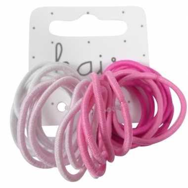 X roze haarelastieken/haarelastiekjes zonder metaal carnavalskleding