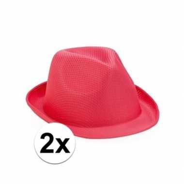 X roze trilby hoeden pretty pink carnavalskleding valkenswaard