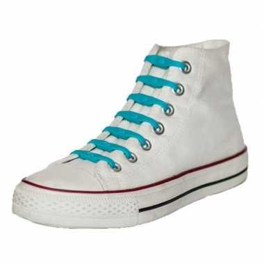 X shoeps elastische veters aqua blauw kinderen/volwassene carnavalskl