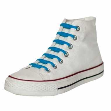 X shoeps elastische veters kobaltblauw kinderen/volwassen carnavalskl