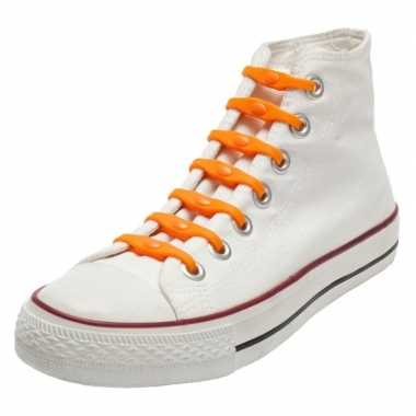 X shoeps elastische veters oranje kinderen/volwassenen carnavalskledi