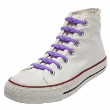 X shoeps elastische veters paars kinderen/volwassenen carnavalskledin