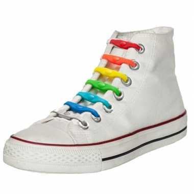 X shoeps elastische veters regenboog kinderen/volwassenen carnavalskl