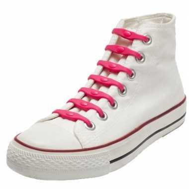 X shoeps elastische veters roze kinderen/volwassenen carnavalskleding