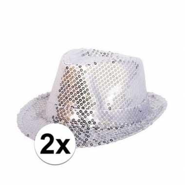 X zilveren pailletten hoedjes volwassenen carnavalskleding valkenswaa