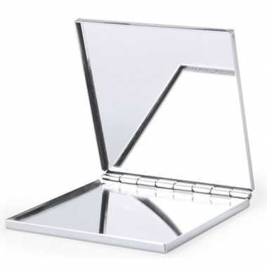 Zakspiegel/make up spiegel zilver vierkant carnavalskleding valkenswa