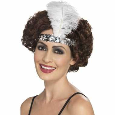 Zilveren charleston hoofdband veer carnavalskleding valkenswaard