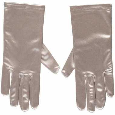Zilveren gala handschoenen kort satijn carnavalskleding valkenswaard