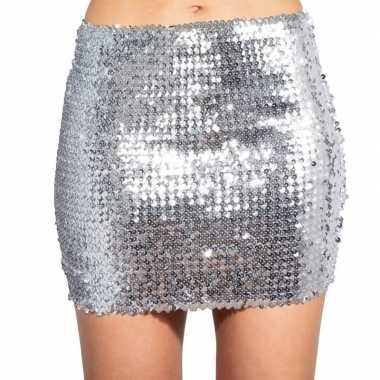 Zilveren glitter pailletten disco rokje dames carnavalskleding valken