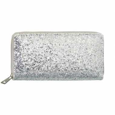 Zilveren glitter portemonnee dames carnavalskleding valkenswaard
