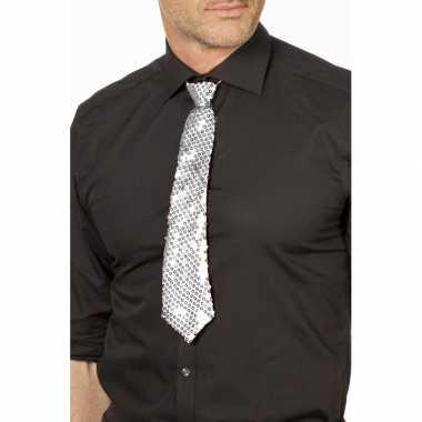 Zilveren glitter stropdas verkleedaccessoire dames/heren carnavalskle