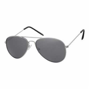 Zilveren kinder piloten zonnebril donkere glazen carnavalskleding val