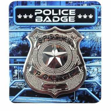Zilveren politie badge verkleed accessoire carnavalskleding valkenswa