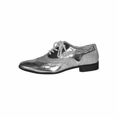 Zilveren verkleed party schoenen heren