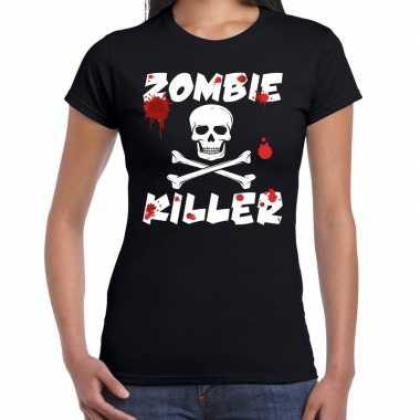 Zombie killer halloween t shirt zwart dames carnavalskleding valkensw