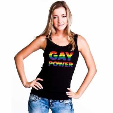 Zwart gay power tanktop dames carnavalskleding valkenswaard