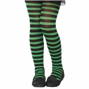 Zwart/groene verkleed panty kinderen carnavalskleding valkenswaard