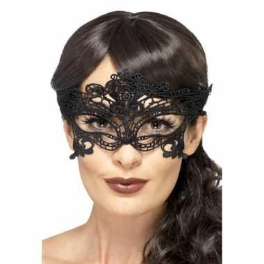Zwart kanten oogmasker dames carnavalskleding valkenswaard